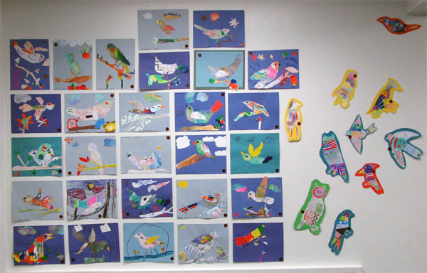 Wall of collages and patterned flying birds