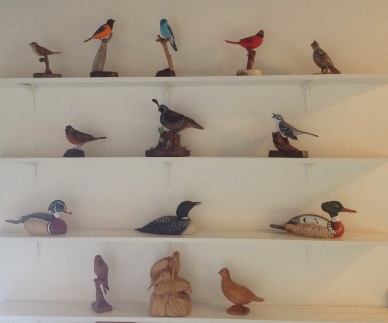 Carvings by Peter Padua on Exhibit at the Birds of Vermont Museum in Huntington, Vermont