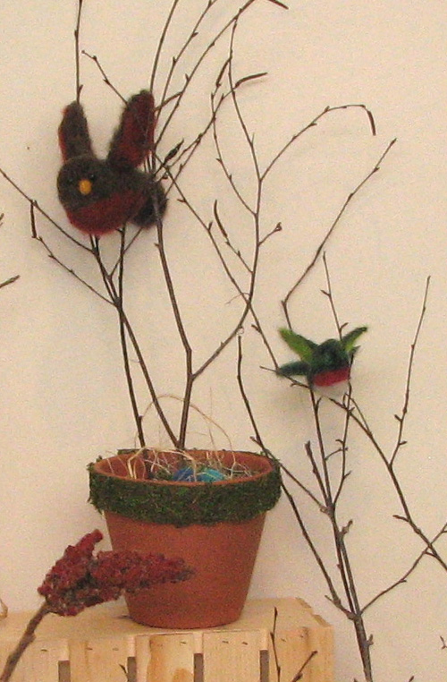 J. Malone led a group of Girl Questers in making an entire exhibit of felted birds.