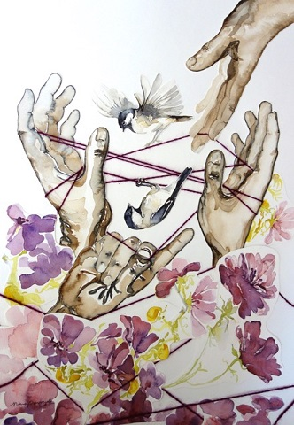 """Cat's Cradle"" by N. Tomczak, from watercolors and yarn."