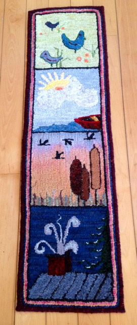 R. Hadden's hooked rug showing birds and habitat.
