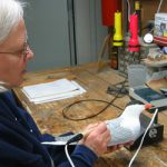 Ingrid Riga carving a Common Tern