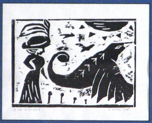 Amy Alfieri's -A Hat Is No Home- block print. Copyright © 2018 and used by permission
