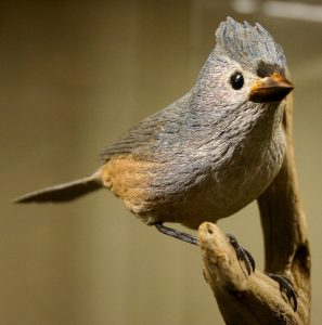 Tufted Titmouse, carved by Bob Spear