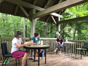 three women, wearing fabric masks and physically distancing, converse while carving birds from wood at the Birds of Vermont Museum's walk-in treehouse