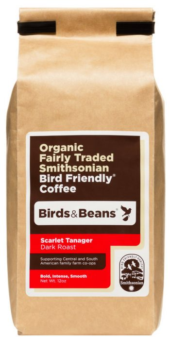 Birds and Beans Coffee: Scarlet Tanager (dark roast) [image of full 12-oz. bag of coffe]