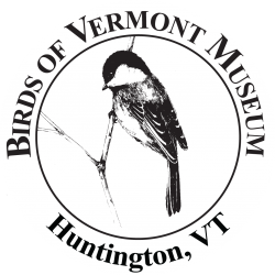 "Black-capped Chickadee (ink drawing by Adelaide Tyrol for the Birds of Vermont Museum) surrounded by the words ""Birds of Vermont Museum Huntington, VT"""