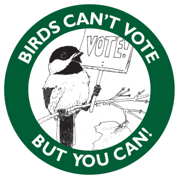 Chickadee holding a sign saying VOTE, ringed by the words -Birds Can't Vote But You Can-. Concept by Allison Gergely, illustration and layout by Kir Talmage, produced by Ye Olde Sign Shoppe for the Birds of Vermont Museum.