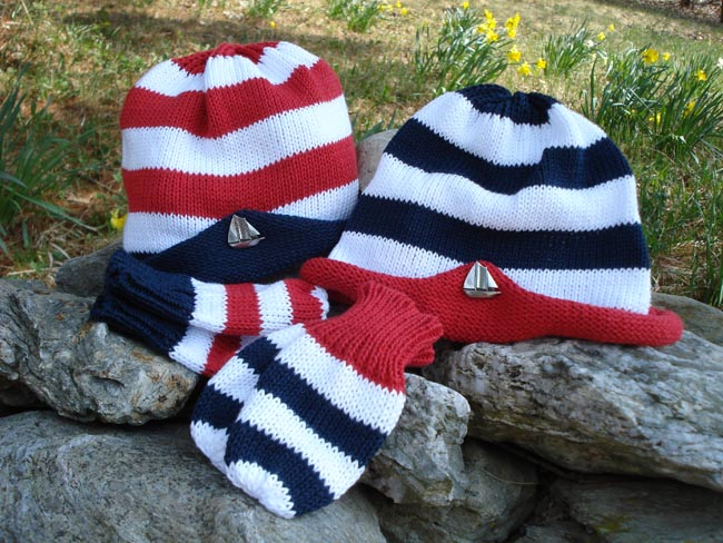Kids hat and mitten set with pewter sailboat pin