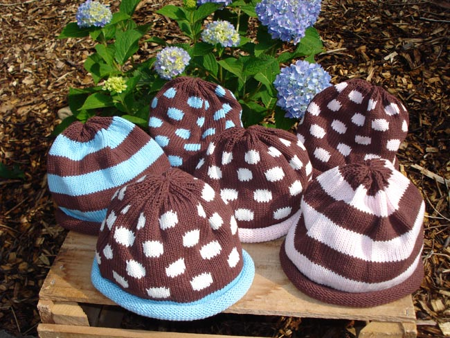 Kids hats - chocolate strips or polka dots