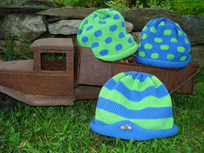 Kids cotton hats - lime stripes or polka dots