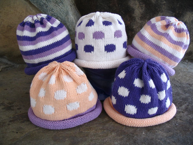 Kids hat with peach and lilac stripes or polka dots
