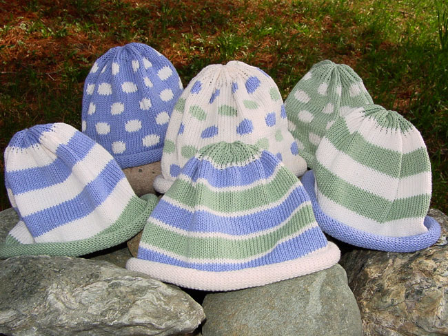 Kids hat - periwinkle and sage stripes or polka dots