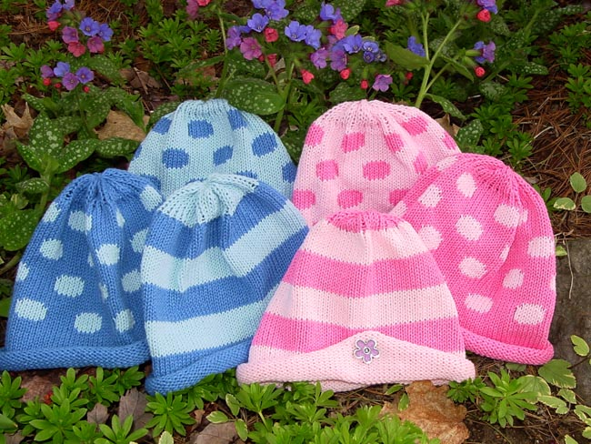 Pink and blue baby hats