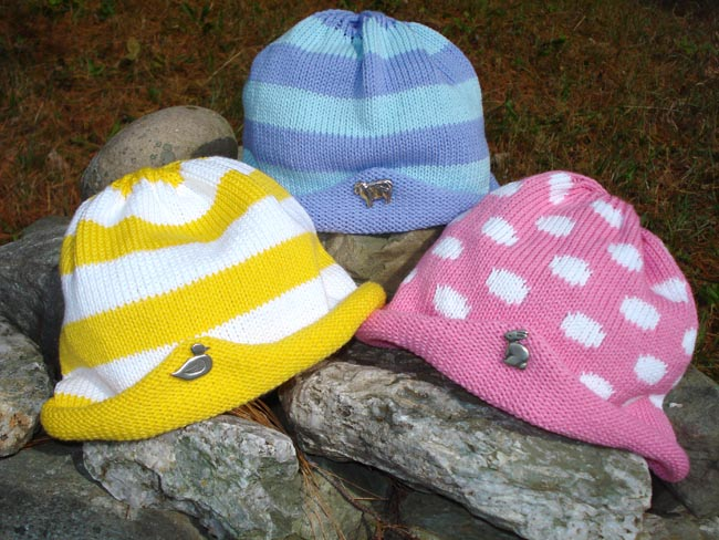Kids hats with sheep, duck, or bunny pin